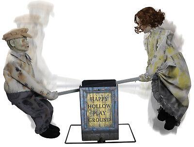 HALLOWEEN LIFESIZE ANIMATED SEE SAW DOLLS CREEPY  PROP DECORATION HAUNTED HOUSE](Halloween Saw Decorations)