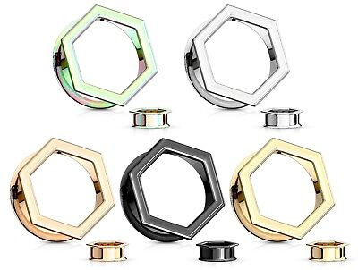 - PAIR Hexagon Front Double Flare Tunnels Plugs Gauges 316L Surgical Steel
