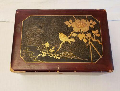 Antique Japanese Lacquer Box Gold On Black Scene Bird Flower River Whitman