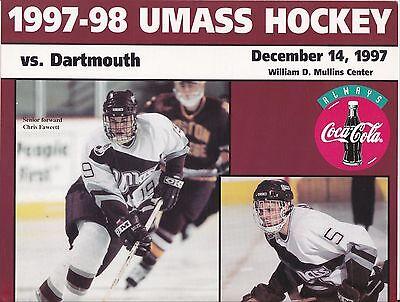 12-14-97 DARTMOUTH AT UMASS NCAA HOCKEY PROGRAM   FREE USA SHIPPING