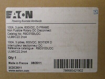 Eaton R9d3100udc 3 Pole 100 Amp 600vdc Non Fusible Rotary Dc Disconnect Switch
