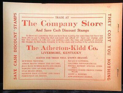 ATHERTON KIDD STORE McLEAN CO LIVERMORE CALHOUN KENTUCKY STAMP BOOKLET (Livermore Stores)