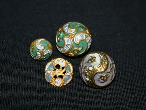 U24. 4x COLLECTIBLE ANTIQUE FANCY BUTTONS, DOMED & ENAMELED, GREENS, GILT +