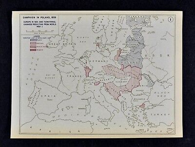 West Point WWII Map Poland Campaign 1933 Territorial Changes after WWI Germany