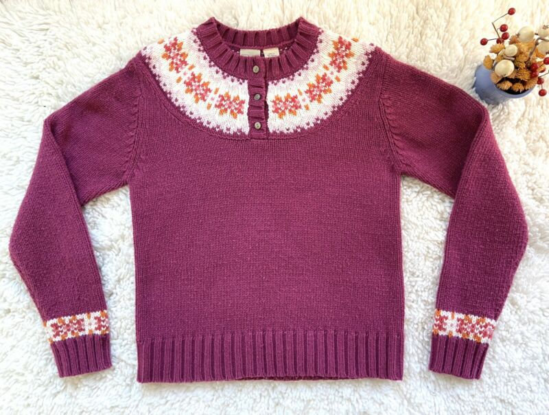 EUC Girls Large 14-16 LL Bean Sweater Pink Acrylic Fair Isle Button Pullover