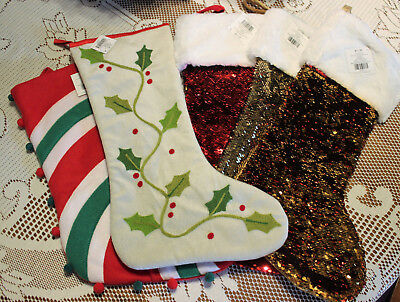 White And Gold Christmas Stockings (Choice Christmas Stockings Striped Pom Poms Holly Sequins Red Green White Gold)