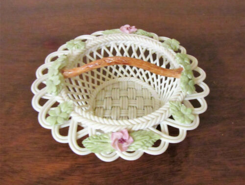 Belleek Classic Basket Weave Bowl or Basket w/Porcelain Pink Flowers & Leaves