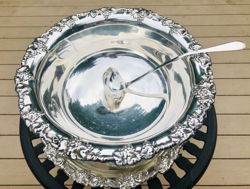 Antique Gorham Decorative Large Silverplate Punchbowl with Tray And Ladle
