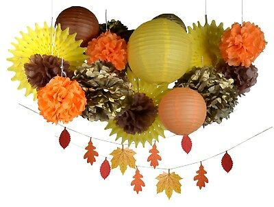 Thanksgiving fall harvest autumn party decoration kit leafs lantern pompom