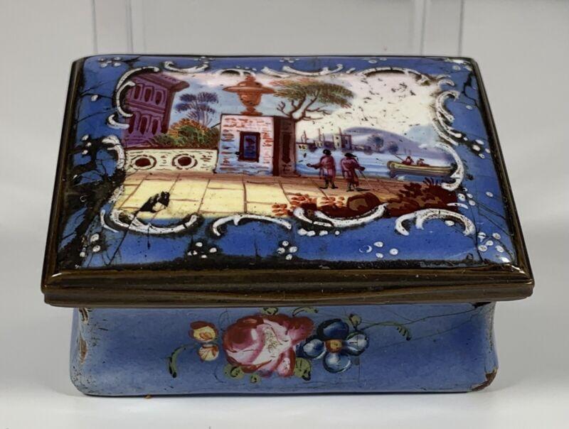 Antique 1760 Original Battersea Bilston Enamel Snuff Box English