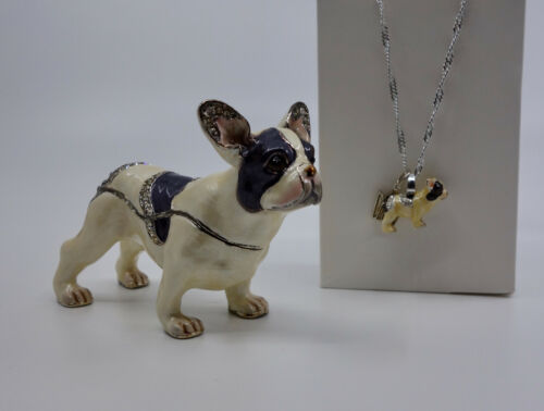 * WOW! FRENCH BULLDOG BEJEWELED TRINKET BOX WITH MATCHING NECKLACE *