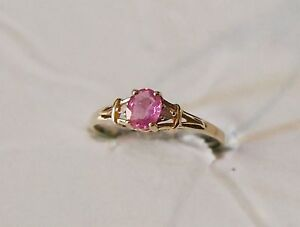 Yellow Gold Ring 10KT Womens' Oval Pink Sapphire with Diamond Accents Size 6.25