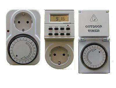 Zeitschaltuhr Analog mit Steckdose 15min Zeitschaltung weiß 3500W 24 Stunden