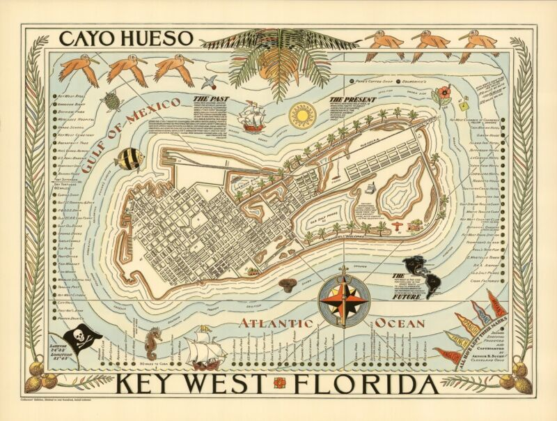 1940 pictorial map Key West Florida hotels landmarks beaches parks POSTER 8856