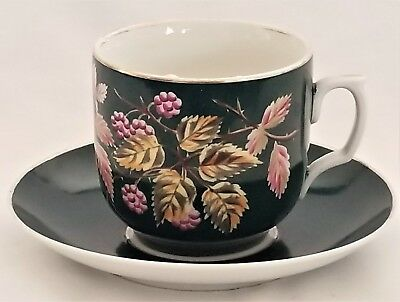 (Mustache CUP & SAUCER, porcelain, Dp pon 1875, Germany, blackberry, 6.5