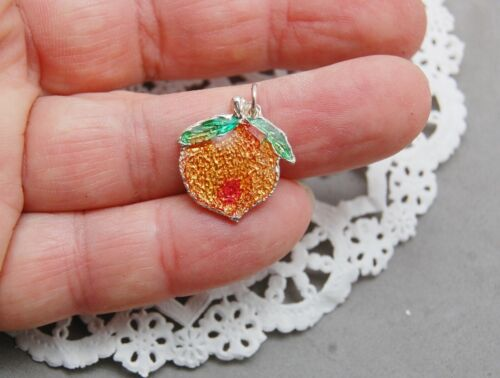 Georgia Peach Charm Pendant Sterling Silver Resin Enamel Handcrafted Painted