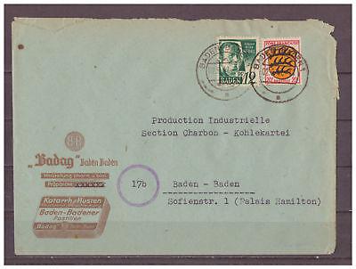 Baden, MiNr. 4 + 8 MiF innerhalb Baden-Baden 02.06.1947
