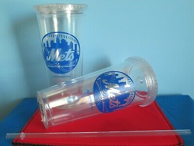 Mets Plastic Tumblers - TWO (2) NEW YORK METS, 24oz, PLASTIC, SIP N GO, TRAVEL TUMBLERS WITH STRAW