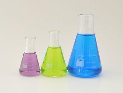 2 Sets Erlenmeyer Flasks 50ml 100ml 250 Ml Borosilicate Glass Measuring Lab New