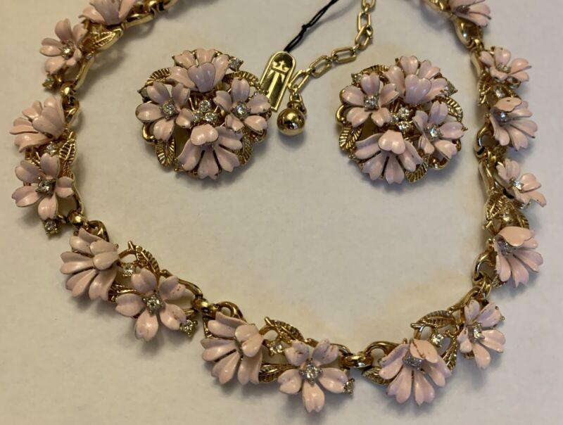 Vintage Crown Trifari Pink Rhinestone Flower Necklace Earring Set Philippe wTag