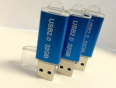New 32GB 32G USB 2.0 Memory Stick Flash Mini Thumb Drive BLUE USA SELLER!