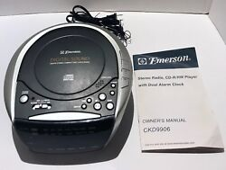 Emerson Compact Disc Clock AM/FM Stereo Radio Model CKD9906 With Owners Manual