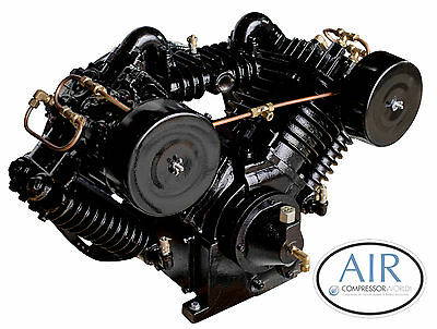 10 Horsepower Air Compressor Pump Cast Iron Two Stage 4 Cylinder W Flywheel