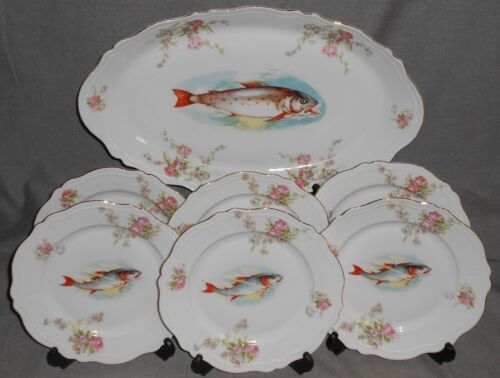 7 pc Set ANTIQUE O & E.G. ROYAL - AUSTRIA Fish Set - PLATTER and SIX PLATES