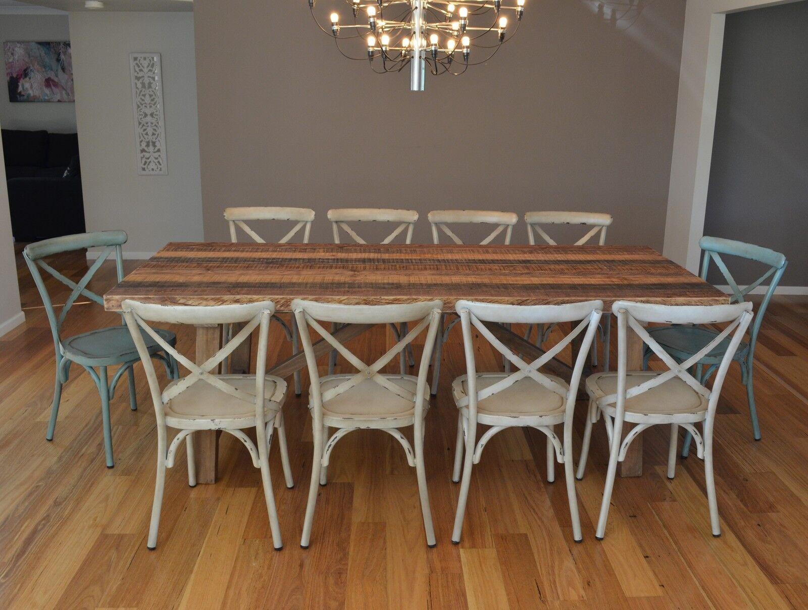 10 seater recycled timber dining table setting rustic metal chairs set