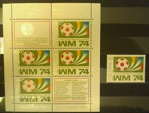 POLAND-STAMPS MNH Fi2181+bl49 SC2037+a Mi2328+bl60 -Polish team of Football,1974 - Reda, Polska - POLAND-STAMPS MNH Fi2181+bl49 SC2037+a Mi2328+bl60 -Polish team of Football,1974 - Reda, Polska