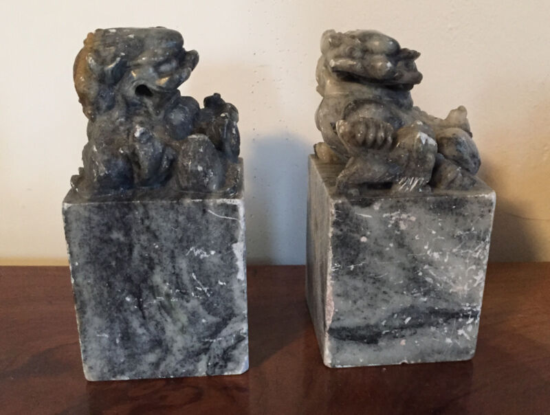 Pair Big Antique Chinese Carved Soapstone Book Ends Chop Seal Foo Dog Lion Stone