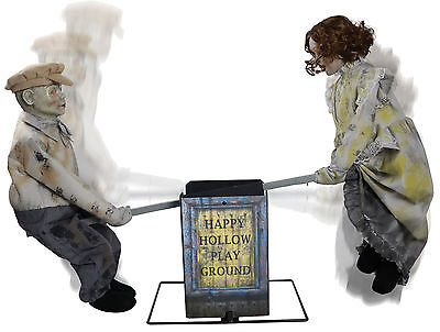 HALLOWEEN ANIMATED SEE SAW PLAYGROUND CREEPY DOLLS PROP DECORATION HAUNTED HOUSE