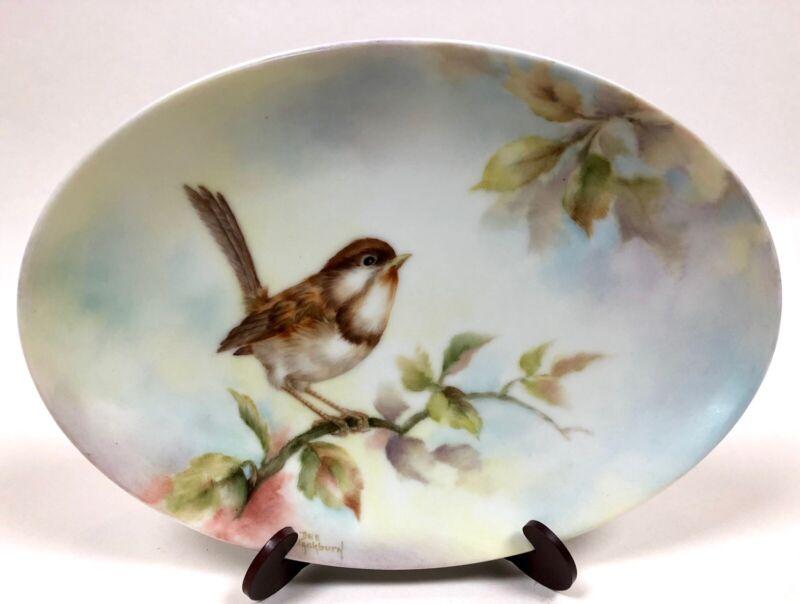 Hand Painted Oval Plate Artist Dee Blackburn Bird