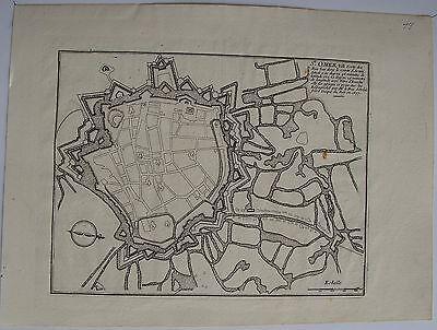 plan: st omer, ville forte des pays bas. n.de fer carte originale (1695)`. dimen