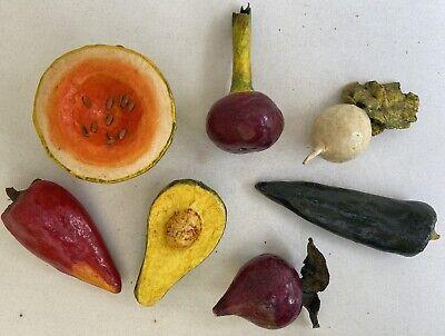 Mexican Paper Mache Vegetable Set of 7 Folk Art Avocado Beet Turnip Onion Pepper