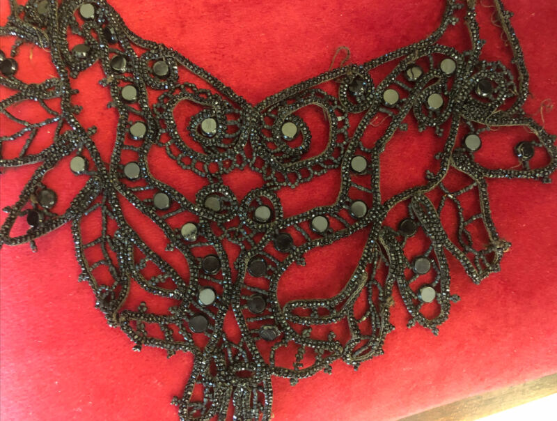 Victorian Black Hand beaded ~ Would be beautiful to frame!