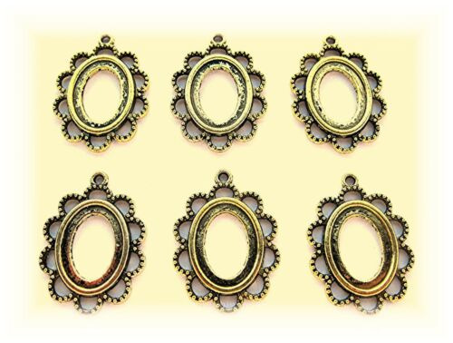 6 Antiqued Goldtone Eyelet Style 18mm x 13mm CAMEO craft PENDANT Frames Settings