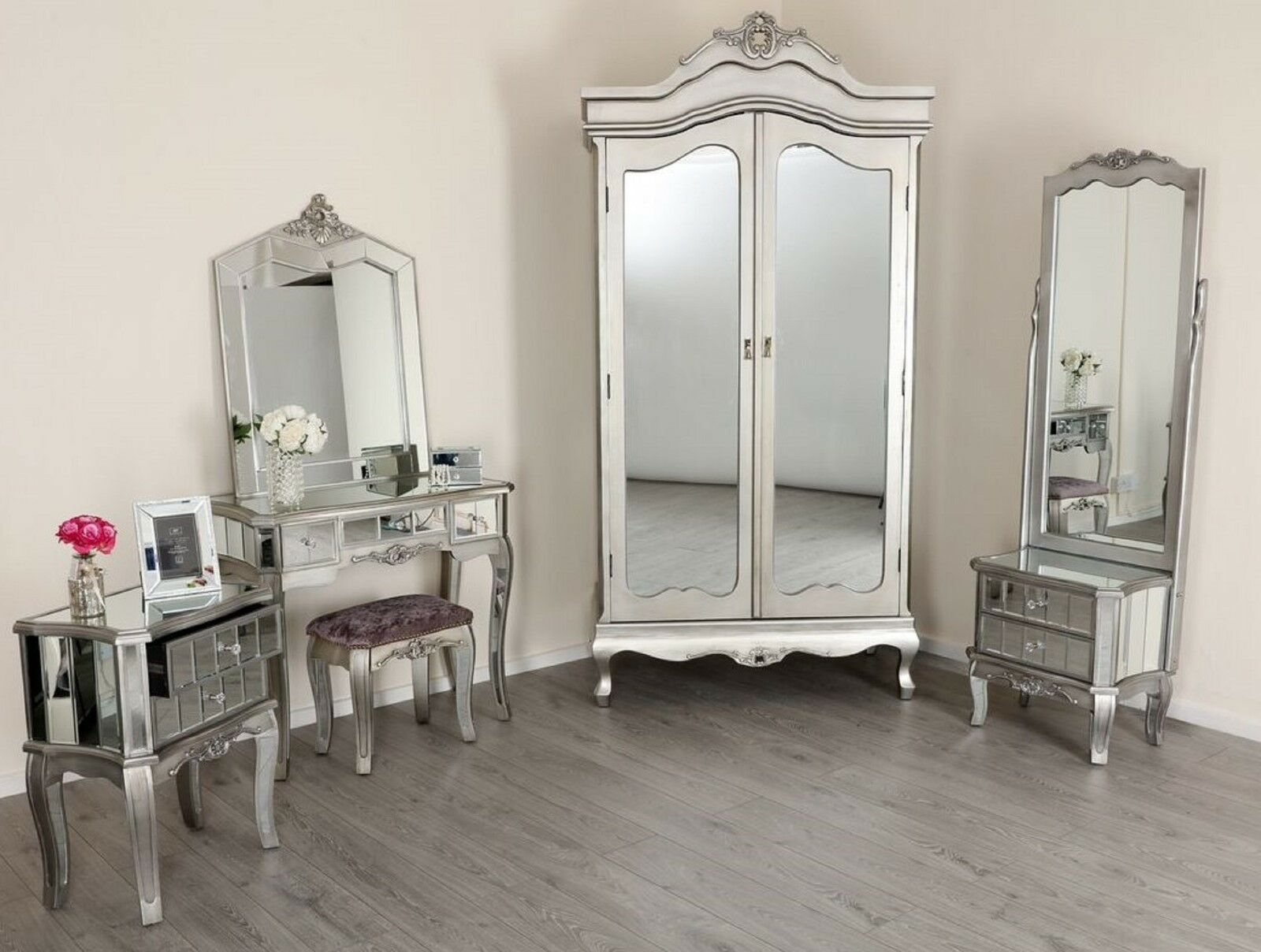 Mirrored silver french style mirror gold shabby chic - French shabby chic bedroom furniture ...