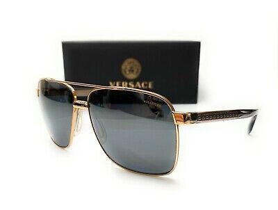 Versace VE2174 1002 Z3 Gold Gr Mir Polarized Lens Men Square Sunglasses 59mm