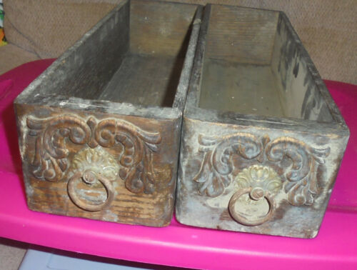 2 Vintage ANTIQUE TREADLE SEWING MACHINE WOODEN DRAWERS Singer  Primitive