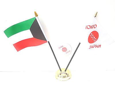 Kuwait & Tokyo Japan Olympics 2020 Desk Flags & 59mm BadgeSet