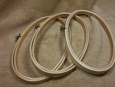 Wood Wooden Embroidery Cross Stitch Hoops 5X9 Oval  New Lot of 3