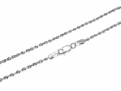 """1.5MM SOLID 14K WHITE GOLD DIAMOND CUT ROPE CHAIN ANKLET 10"""""""