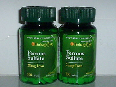 FERROUS SULFATE 28 MG IRON DEFECIENCIES RED BLOOD CELLS SUPPLEMENT 200 TABLETS Sulfate 200 Tablets