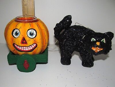Vintage Style Halloween Paper Mache Black Cat with Jack-o-lantern Candle Holder - Halloween Decorations With Paper Mache
