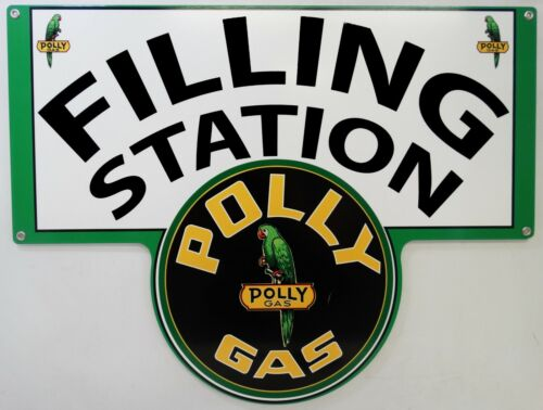 Polly Gasoline Filling Station Plasma Cut Metal Sign