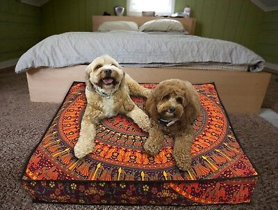 Floor Pillow Ottoman Pouf Cushion Pillow Cover Square Pet Dog Bed