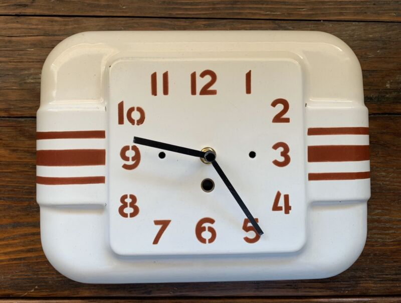 Rare Vintage French Japy White Enamel Wall Clock with Red Stripes Retro Style
