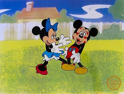 DISNEY MICKEY MINNIE MOUSE SURPRISE PARTY Ltd Edition Sericel Animation Art Cel