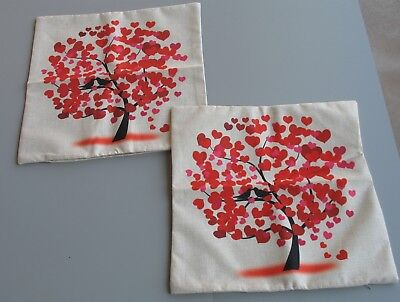 New Valentine Tree of Hearts & Love Doves Cushion Cover Cotton Pillow Cover Pair for sale  Scottsdale